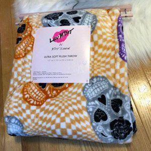 Betsey Johnson Sugar Skulls Plush Throw Blanket